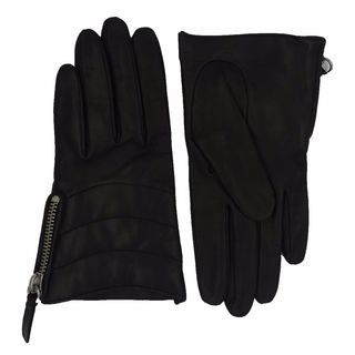 Coach Black Leather Quilted Zippered Gloves