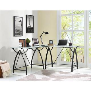 Altra Lacklan Glass Top L Desk