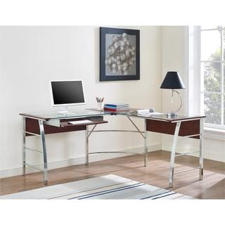 Ameriwood Home Wingate Glass Top L Desk