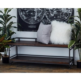 Benzara Wood, Metal 51 inches x 21 inches Bench
