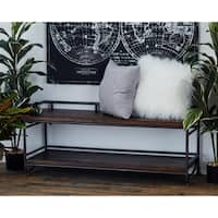 Rustic Fir Wood and Iron Rectangular Bench by Studio 350