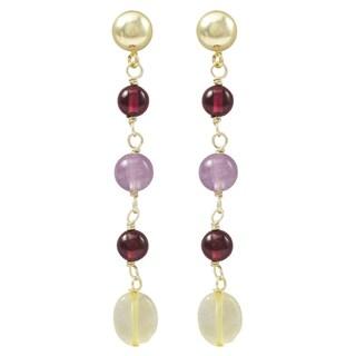Luxiro Gold Finish Amethyst Semi-precious Gemstone Dangle Earrings
