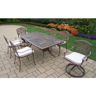 Merit Antique Bronze and Oatmeal Boat-shaped 7-piece Patio Dining Set