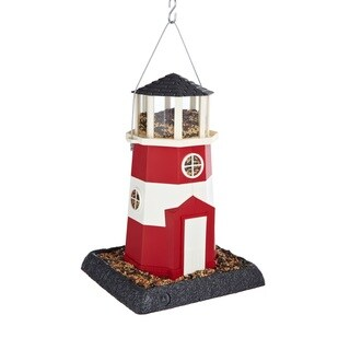 Red/White Plastic Lighthouse Birdfeeder