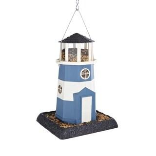 Shoreline Blue and White Plastic Lighthouse Bird Feeder
