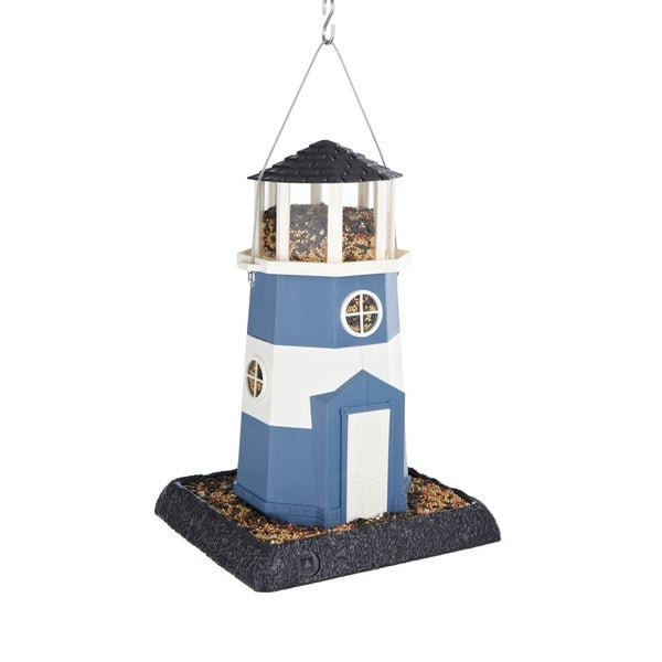 Shoreline Blue and White Plastic Lighthouse Bird Feeder