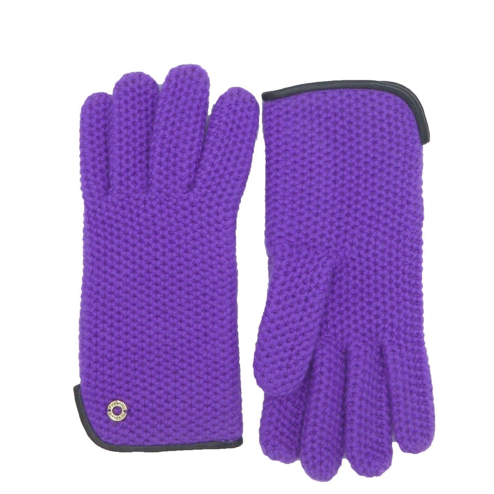 Coach Women's Purple Leather Wool Knit Gloves (XS/S)