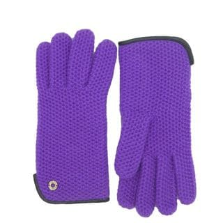 Coach Women's Purple Leather Wool Knit Gloves