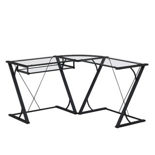 Snyder L-Shaped Computer Desk with Keyboard Tray, Black