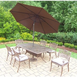 Merit Antique Bronze Boat-shaped Covered 9-piece Patio Dining Set