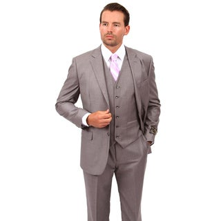 Demantie Men's Light Grey Rayon and Viscose Classic Fit Suit