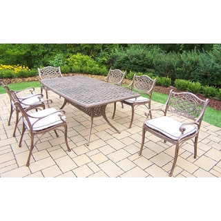 Merit Antique Bronze Boat-shaped Stackable 7-piece Patio Dining Set