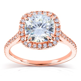Annello 14k Rose Gold 7.5mm Cushion Moissanite and 1/4ct TDW Diamond Halo Engagement Ring (G-H, I1-I2)