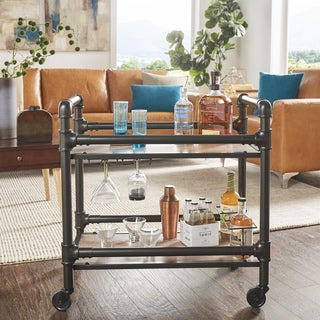 Metropolitan Dark Bronze Metal Pipe Mobile Bar Cart with Wood Shelves by iNSPIRE Q Classic