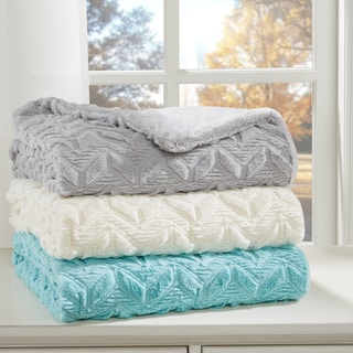 Intelligent Design Kylie Textured Plush Down Alternative Throw 3-Color Option