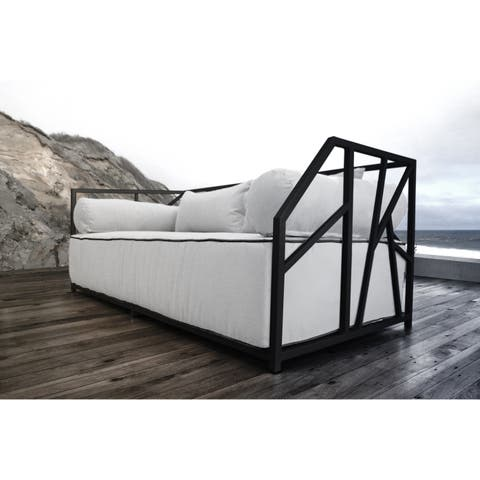 SOLIS Nidum Indoor/Outdoor Patio Black Daybed Sofa with White Cushions