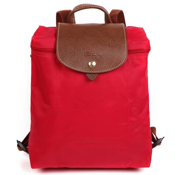 00645ae11afd Shop Longchamp Le Pliage Red Garance Foldable Backpack - Free ...