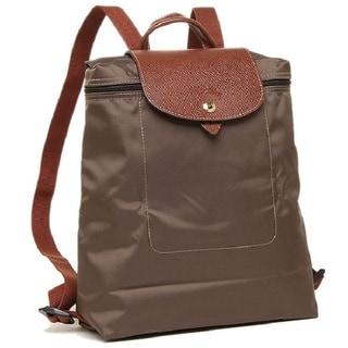 Longchamp Le Pliage Tierra/Brown Leather/Nylon Foldable Backpack