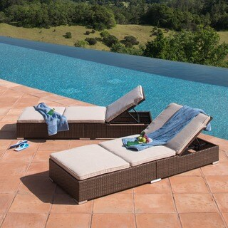 Corvus Brown Wicker Outdoor Chaise Lounges with Cushions (Set of 2)