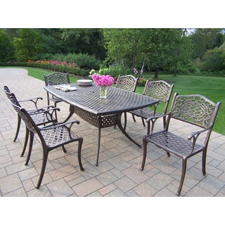 Casselton Antique Bronze Lattice 7-piece Patio Dining Set