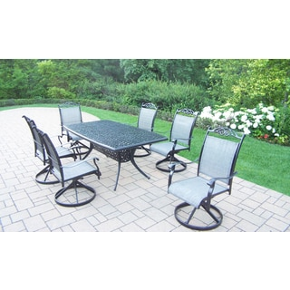 Radiance Sling 7 Pc Dining Set with Boat Table and 6 Swivel Rockers in Black