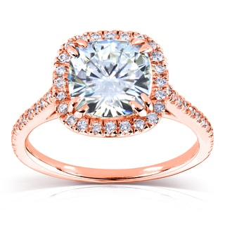 Annello By Kobelli 14k Rose Gold 7 5mm Cushion Moissanite FG And 1 4ct TDW Diamond GH Halo Engagement Ring