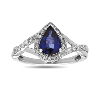 14k White Gold Sapphire and 1/4ct TDW White Diamond Ring (H-I, SI1-SI2)