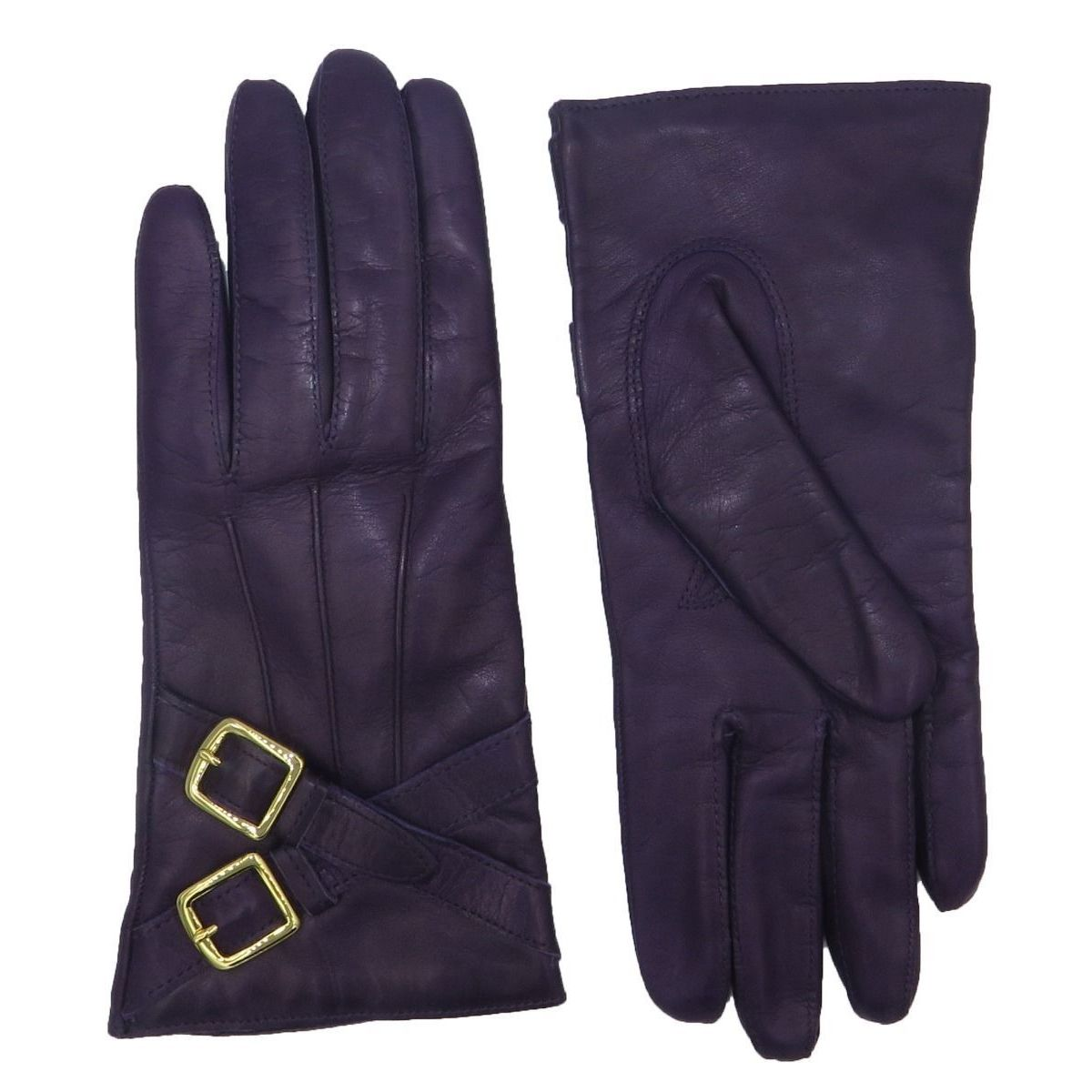 Coach Black Leather Cashmere Lined Crossing Buckle Gloves...