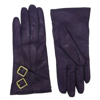 Coach Black Leather Cashmere Lined Crossing Buckle Gloves