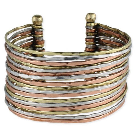 Handmade Hammered Tri-color Metal Cuff Bracelet