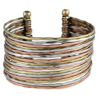 Handmade Hammered Tri-color Metal Cuff Bracelet