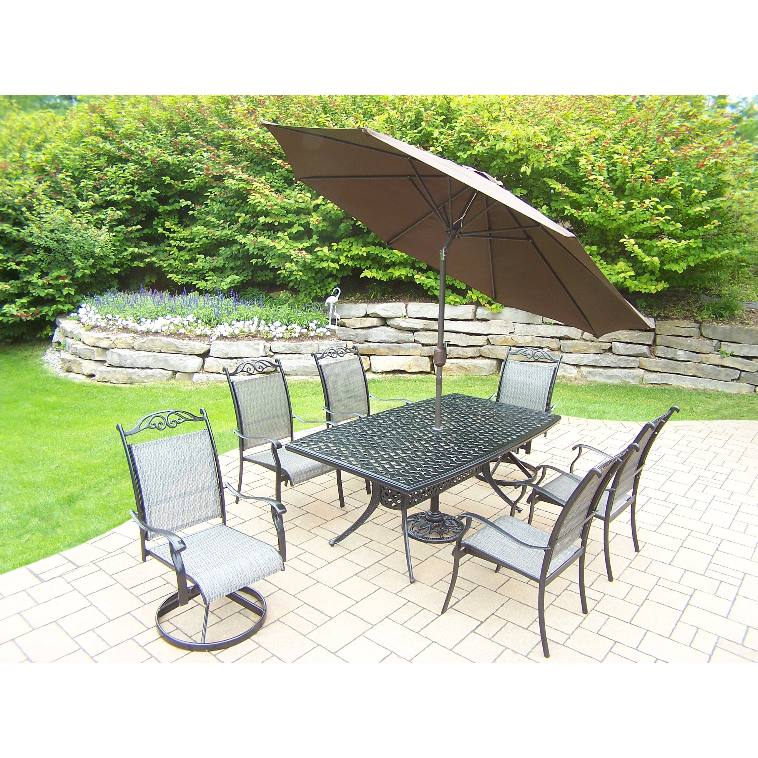 Black And Brown Sling Back 9 Piece Shaded Patio Dining Set Ebay