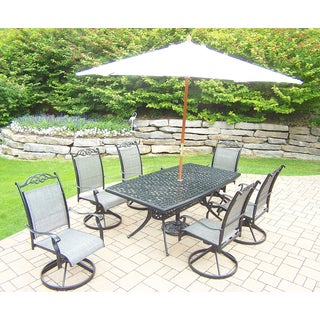Radiance Black and Beige Sling-back 9-piece Shaded Patio Dining Set