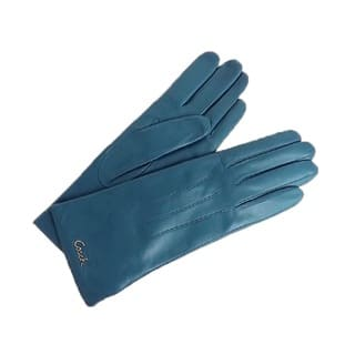 Coach Teal Blue Leather Logo Gloves|https://ak1.ostkcdn.com/images/products/13798413/P20448145.jpg?impolicy=medium