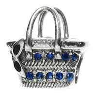 Queenberry Sterling Silver Cubic Zirconia Purse European Bead Charm