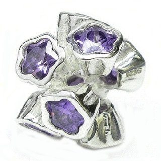Queenberry Sterling Silver Puple Cubic Zirconia 'Lots of Flower' European Bead Charm