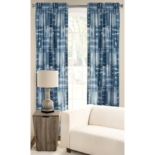 PoloGear White/Blue Polyester Microfiber American Vintage Window Curtain Panel