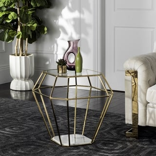 Safavieh Couture High Line Collection Abena Geometric Gold End Table