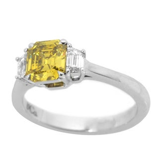 18k White Gold 1 2/5ct TDW Yellow and White Diamond GIA Certified Engagement 3 Stone Ring
