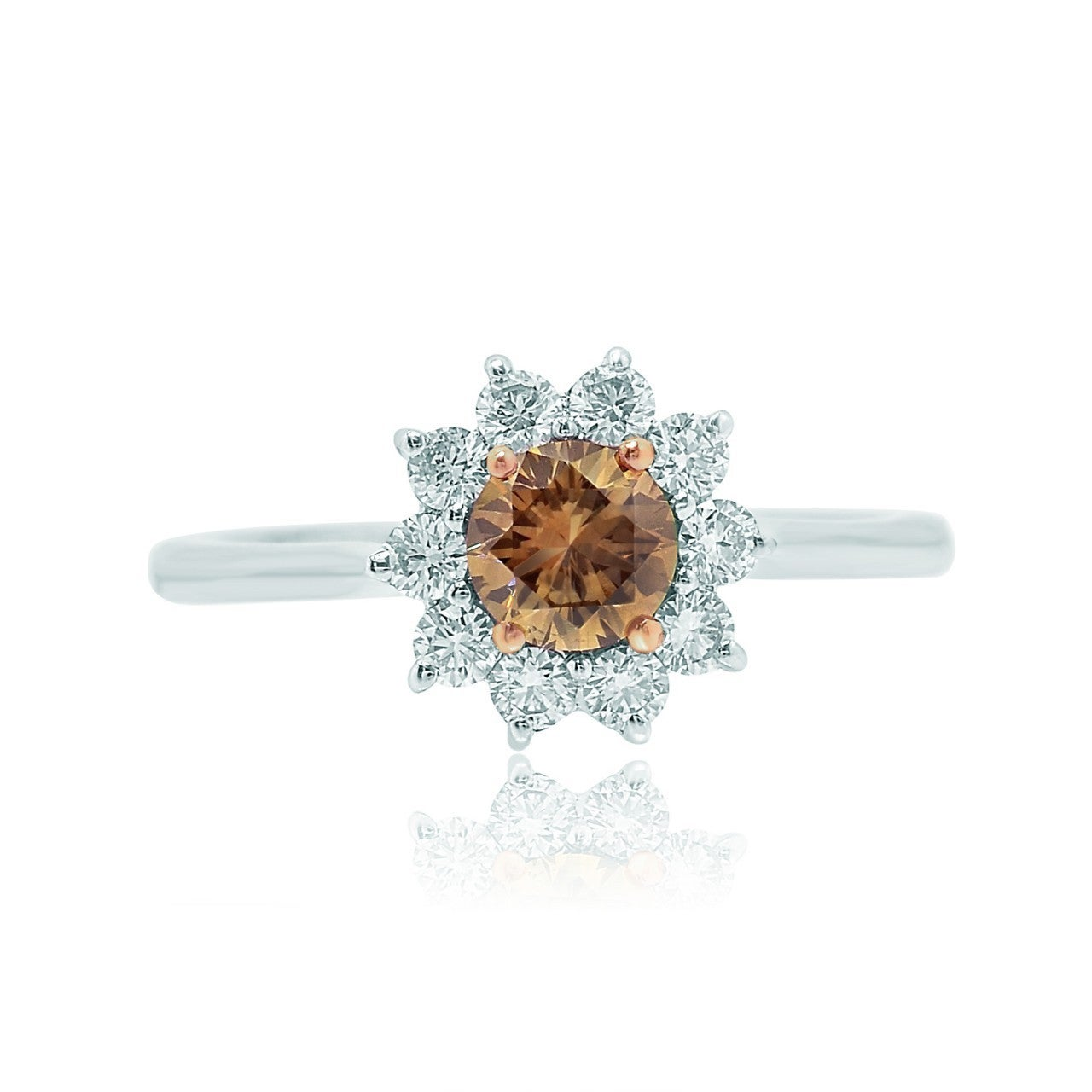 USA 18k White and Rose Gold 7/8ct TDW Champagne and White...