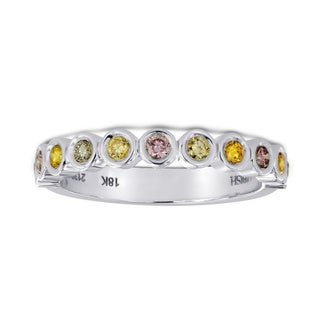 18k White Gold 1/3ct TDW Multi-color Diamond Band Ring