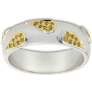 18k White and Yellow Gold 1/6ct TDW Yellow Diamond Engagement Band Ring