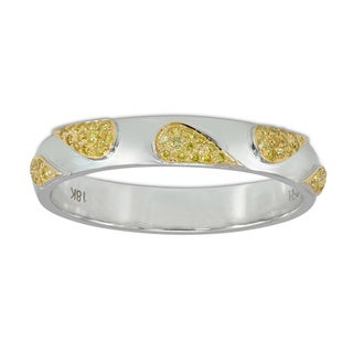 18k White and Yellow Gold 1/6ct TDW Yellow Diamond Engagement Band Ring