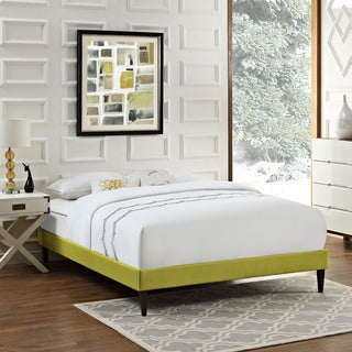 Sharon Fabric Bed Frame with Squared Tapered Legs in Wheatgrass