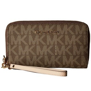 Michael Kors Jet Set Large Flat Multifunction Mocha Phone Case Wallet