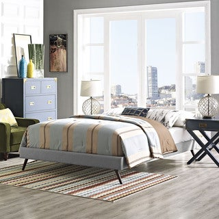 Helen Fabric Bed Frame with Round Splayed Legs in Light Gray