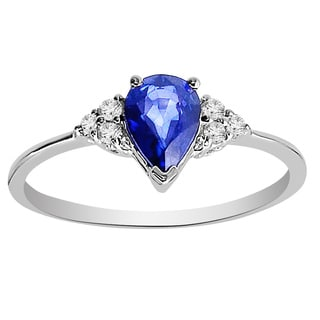 14k White Gold Sapphire and White Diamond Ring