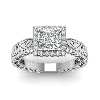 14k White Gold 5/8ct TDW White Diamond Princess Halo GIA Certified Engagement Ring (E-F, SI1-SI2)