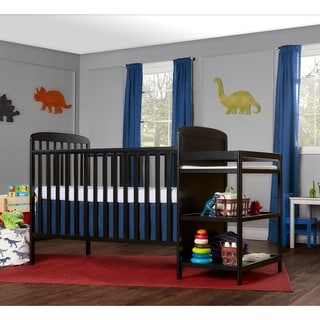 Dream On Me Anna Black 4-in-1 Full-size Crib and Changing Table Combo