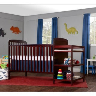 Dream On Me Anna Cherry 4-in-1 Full-size Crib and Changing Table